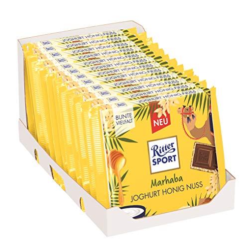 RITTER SPORT 'Marhaba' Joghurt Honig Nuss (12 x 100 g), gefüllte Vollmilchschokolade mit Joghurt-Creme, Haselnüssen & Honig-Crisp, Tafelschokolade, Fernweh-Edition