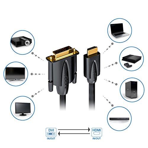 deleyCON 3m HDMI zu DVI Kabel - HDMI Stecker zu DVI Stecker 24+1-1080p Full HD HDTV 1920x1080 - vergoldete Kontakte - TV Beamer PC - Schwarz