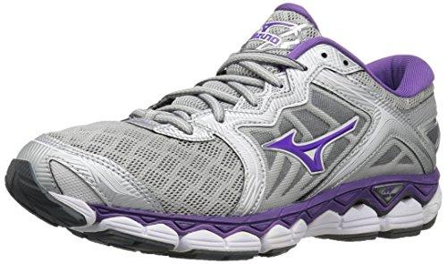 Mizuno Running Women's Wave Sky Shoes, Silver/Pansy/Castlerock, 6 B US