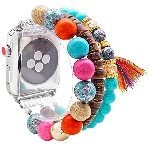 para la Correa de Apple Watch 38mm 44mm 5/4/3 Pulsera Pulsera única elástico elástico Bohemio Bohemian Bandas Abalorios Bandas Tassel ala reemplazo Correa para Mujeres niñas