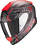 Scorpion Exo-1400 Air Spatium - Casco integral para motocicleta, color plateado mate, rojo