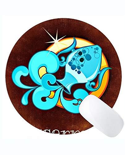 Rutschfeste Gummi Gaming Runde Mausunterlage, Wassermann Sternbild Astrologie Themen Gummi Runde Mausunterlage