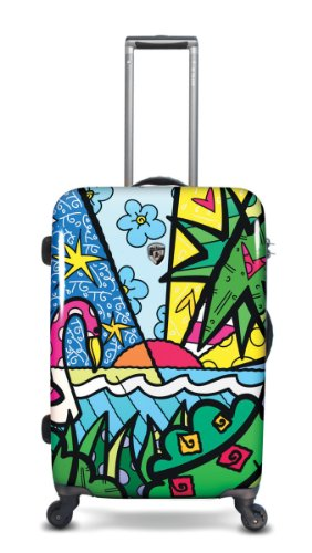 Koffer, Reisegepäck, Trolley by Heys - Premium Designer Hartschalen Koffer - Künstler Britto Palm Koffer mit 4 Rollen Medium
