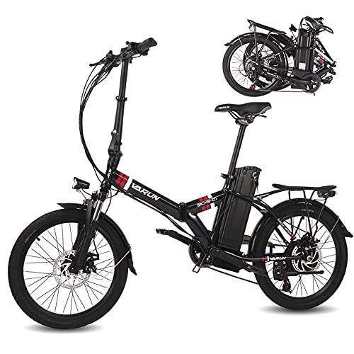 """VARUN 20\"""" Klappbares E-Bike Ausgestattet mit 250W Motor25 km/h und 36V 10,4Ah Wechselakku Faltbares Pedelec Shimano 7 Gang-Schaltung (Schwarz)"""