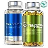 INTEGRATORI MEMORIA - CONCENTRAZIONE - Combo Vitamine e Omega 3 per il Cervello - Con Vitamina B, Caffeina, Ginko Biloba - Integratore Nootropico in Capsule - Per Stanchezza - Studio Concentrazione