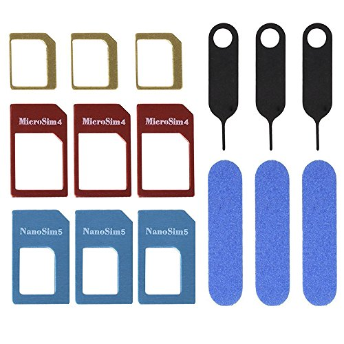 3 Set SIM Karte Adapter 5 in 1 Nano Mikro Standard SIM Karte Konverter Kit mit SIM Karte Ordner und Nadel