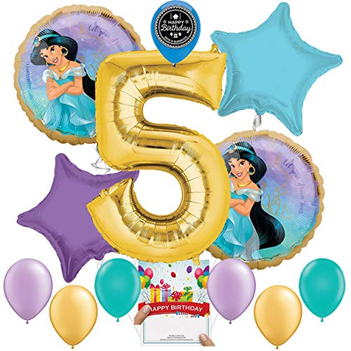 Princess Jasmine Party Supplies Balloon Decoration Bundle for 5th Birthday
