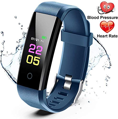 Fitness Trackers- Activity Tracker Watch with Heart Rate Blood Pressure Monitor, Waterproof Watch with Sleep Monitor, Calorie Step Counter Watch for kids Women Men Compatible Android iPhone Blue