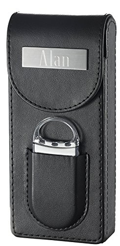 Personalized Caldwell Black Leather Cigar Case with Cigar Cutter