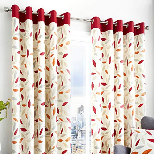 Fusion - Beechwood - 100% Cotton Ready Made Pair of Eyelet Curtains - 66' Width x 72' Drop (168 x 183cm) in Red