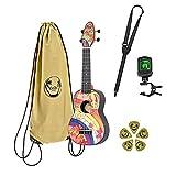 Ortega Guitars Ukelele Soprano - Zurdo - Keiki K2 con diseño Hippie - incluye afinador, 5 puas de grosor medio y funda estilo bolsa con cuerdas con logo Keiki - madera de Kauri, K2-68-L