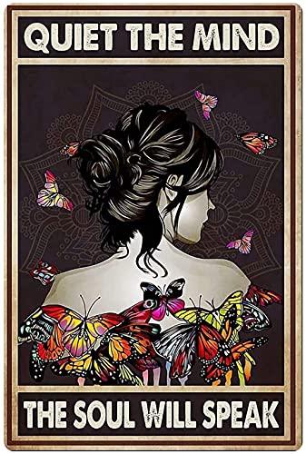 1510 Letrero de lata retro mariposa chica hogar café decoración pared bar club retro metal signo vintage 20 x 30 cm