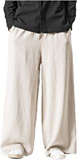 Howely Mens Ethnic Style Cotton Linen Chinese Style Casual Loose Casual Pants