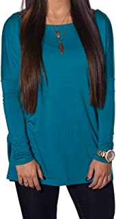 Women's Famous Long Sleeve Bamboo Top Loose Fit (Large, Teal)