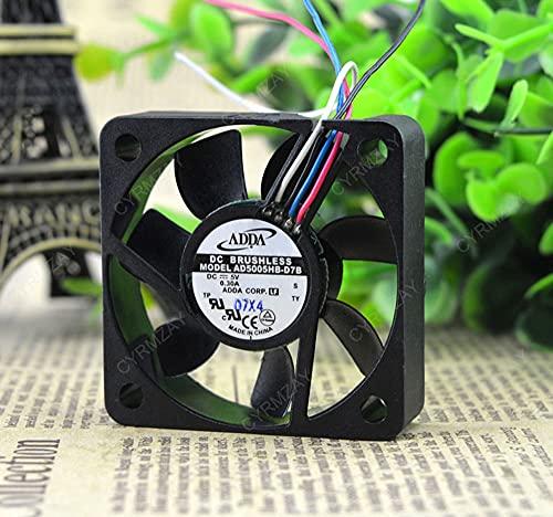 CYRMZAY Ventilador Compatible para ADDA AD5005HB-D7B 5V 0.30A 5CM 5015 4-Wire PWM Cooling Ventilador