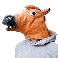 """✔ Latexmaske Pferdekopf als Maske, Typ """"Brauner"""" Hengst. ✔ Braune Pferdemaske aus Latex mit Blesse und Kunsthaar als Mähne. ✔ Öffnung in der Schnauze der Tiermaske erlaubt das Sehen und Atmen. ✔ Perfekt für Party, Karneval, Fasching & auch an Hallowe..."""