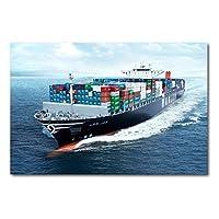 タンカー船ボート輸送コンテナ貨物船海壁アートポスターキャンバスアートプリントリビングルームの装飾のためのアート絵画-60x90cmフレームなし