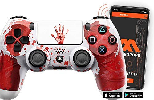 """SMART """"Bloody Hands white"""" Ps4 Rapid Fire Custom Modded Controller 40 Mods for All Major Shooter Games & More with CUSTOM TOUCHPAD"""