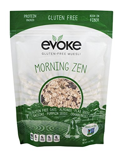 Evoke Morning Zen Gluten-Free Muesli Cereal, 12 ounce - Low Sugar, Enjoy Cold or Hot, Overnight Oats