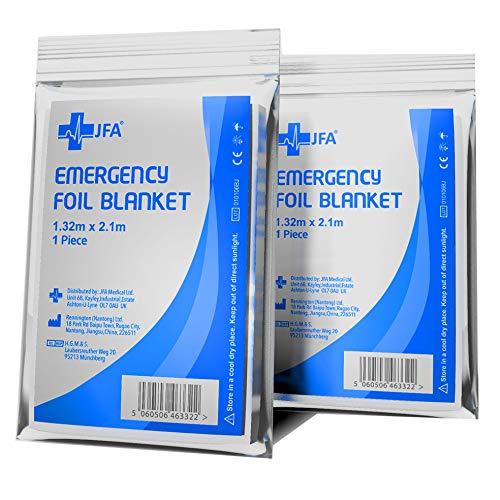 Rettungsdecke Rettungsdecken 5er Set (= 5 Stück) silber 210 x132cm Rettungsfolie für Erste Hilfe Notfall Rettungsdienst