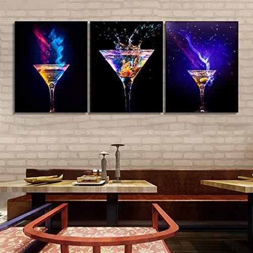 Cartel de la lona de la copa de vino de la luz azul colorida, pintura de la barra de la cocina, cuadro moderno del arte de la pared del hogar, decoración del comedor-40x50cmx3 sin marco