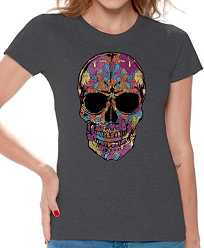 Women's Black Flower Sugar Skull T-Shirt Day of The Dead Shirt + Skull Necklace L Charcoal