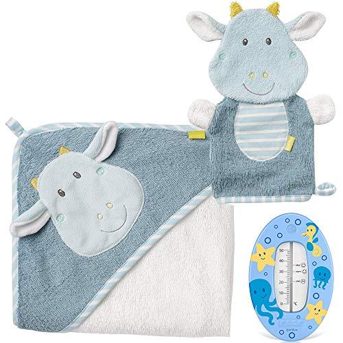 Fehn kit per bagnetto neonato,'Little Castle Collection' Asciugamano Da Bagno con cappuccio in Cotone + Guanto per bagnetto + Termometro per Bagnetto