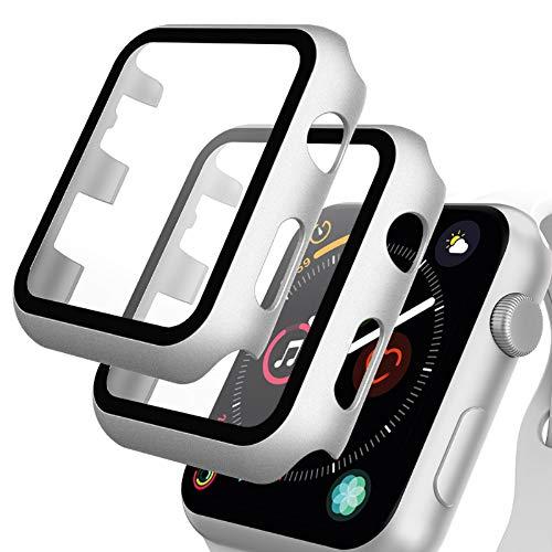GeeRic Protector de Pantalla Compatible con Apple Watch 38mm Series 3, [2 Pcs] [PC Funda][HD Película] [Completa], Cristal Vidrio Templado Compatible para Apple Watch 38mm Series 3 2 1 Plata
