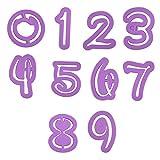 AvoDovA Numeri Stampino per Biscotti, 10 Pz Stampini per Biscotti Set, Formine Biscotti di Plastica, Fai da Te Cucina Accessori, Tagliabiscotti Numeri per Pasticceria Biscotti Fondente Decorare Torte
