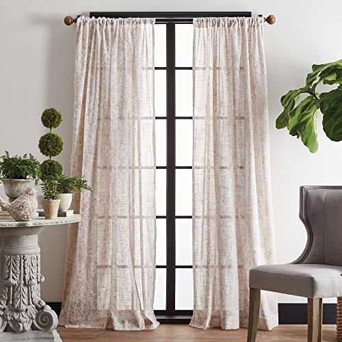 "MARTHA STEWART Vega Sheer Rod Pocket Window Curtain Panel Pair, 95"", Gold"