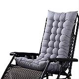 Cojines de silla para exteriores, decoración de silla con cojín de respaldo suave, para camas Sofá Dormitorio Alfombrilla gruesa, Para almohadones reclinables de tumbona (sin sillón) 125x48cm gris