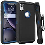iPhone XR Case,FOGEEK Belt Clip Holster Heavy Duty Kickstand Protective Cover [Dust-Proof] [Shockproof] Compatible for Apple iPhone XR [6.1 inch] (Black/Blue)