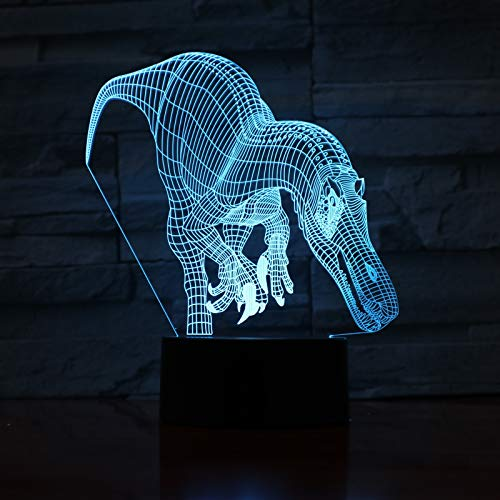 Tianyifengg 3D-LED-7 Color-Remote-Night Light-Raptor Dinosaurio Lámpara de Mesa Dormitorio Decoración Luz Niño Niño Regalo Animal Raptor