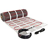 LuxHeat 70 Sqft Heating Mat, 240v Electric Radiant Floor Heating System with Self-Adhesive Mesh for Easy Installation Under Tile, Underfloor and Infloor - Includes Floor Sensor for Thermostat