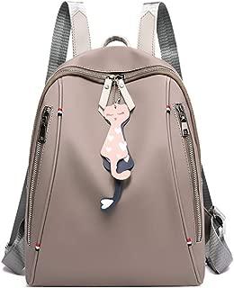 LPFMM Backpack Female Waterproof Oxford Cloth Cartoon Pendant Casual Multi-Function Backpack Backpack (Color : Gray)
