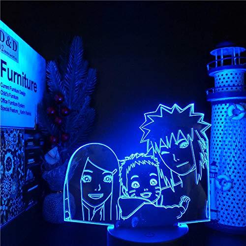 Lámpara De Ilusión 3D, Luz De Noche Led, Lámpara 3D De Naruto, Minato Kushina, Decoración Del Hogar Familiar, Iluminación Nocturna, Luces De Manga