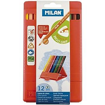 MILAN プラスチックケース入 三角形色鉛筆 12色
