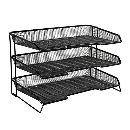 Rolodex Mesh Collection Stacking Sorter, 3-Section, Desk Tray, Standard Packaging Desk Tray Stacking Support