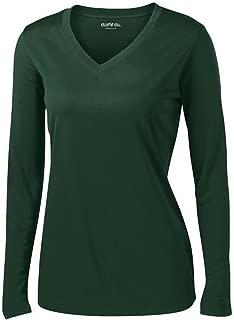 Clothe Co. Ladies Long Sleeve V Neck Moisture Wicking Athletic Shirt
