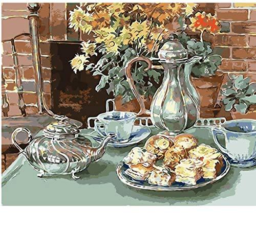 YUWO Snack Time Keuken Bloemen olieverfschilderij Afbeeldingen op cijfers Digitale afbeelding tekenen van cijfers hand kleuren lekker nachtkastje 40x50 cm