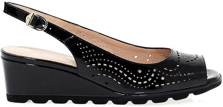 women SERENA Women's women4184 Black Leather Sandals