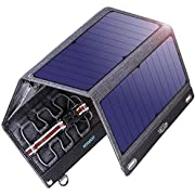 VITCOCO Solar Ladegerät Solarpanel Tragbar, 29W Solar Powerbank with Dual USB Ports 12V DC Eingangsspannung Outdoor Solarladegeräte Wasserdicht faltbar Camping Reisen für Smartphone, Tablet etc.