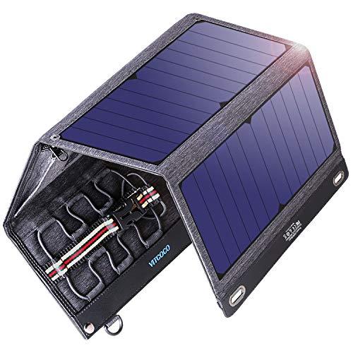VITCOCO Panel Solar Cargador Portátil, 29W Portatil Cargador Solar Portátil Plegable Impermeable Power Bank con 2 USB de Salida Puertos Smartphone, Tablet, energía móvil etc.