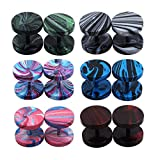 TOPBRIGHT Faux Gauges Earrings Fake Gauges Cheater Illusion Unisex Fake Plugs 6 Pairs Assorted Colors Dumbbell Stud Earrings 16G