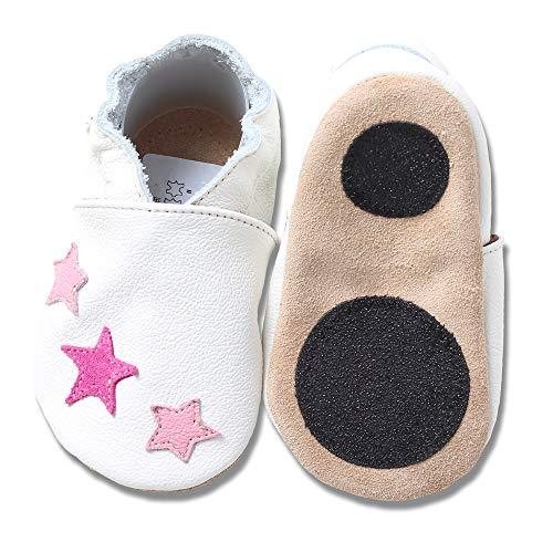 HOBEA-Germany Baby Lauflernschuhe Sterne mit Anti-Rutsch-Pads, Kinder Hausschuhe, Lederschuhe, Design: weiß mit pinken Sternchen, Größe 18/19 (6-12 Mon)
