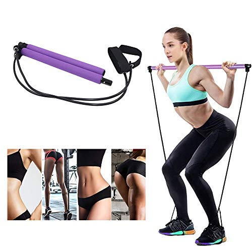 Gomi Portable Pilates Bar Kit with Resistance Band Yoga Pilates Stick, Exercise Toning Bar with Foot Loop, Sit-Up Bar for Yoga, Fitness, Stretch, Sculpt,Twist(Purple)