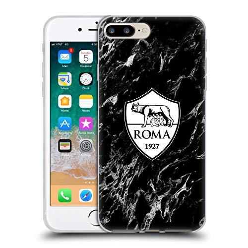Head Case Designs Oficial AS Roma Mármol Negro Gráficos de la Ciudad Carcasa de Gel de Silicona Compatible con Apple iPhone 7 Plus/iPhone 8 Plus