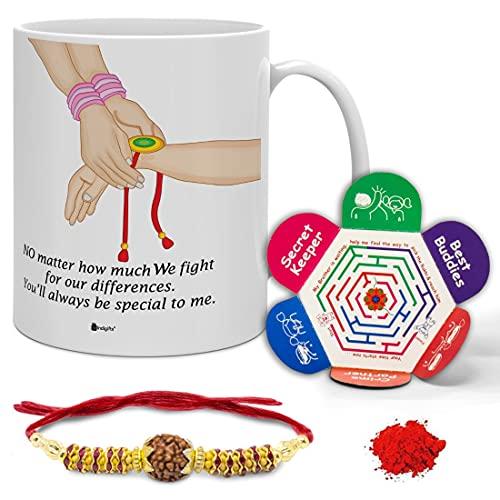Indigifts Rakshabandhan Gifts for Brother Special Bro Sis Bond Quote Printed Coffee Mug 330 ml, Rudraksha Rakhi, Roli & Greeting...