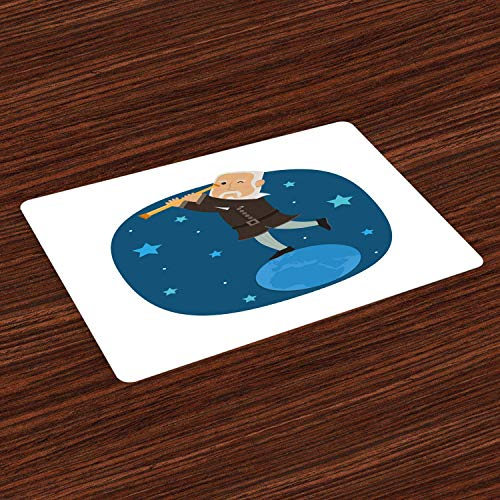 Juego de 4 manteles individuales con diseño de dibujos animados Galileo Discovering Space Galaxy Star en la Tierra, resistentes al calor, lavables para mesa de comedor, color blanco y azul oscuro