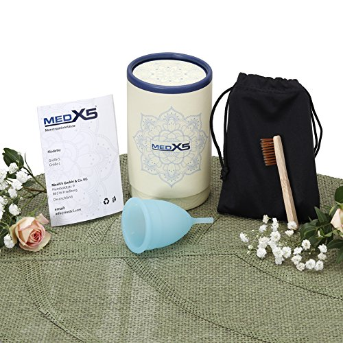 MedX5 (Upgrade 2020) Menstruationstasse aus medizinischem Silikon, Menstruationskappe inkl. Reinigungsbürste, Beutel und Geschenkbox, Größe: S Menstruationskappe, Farbe: Blau